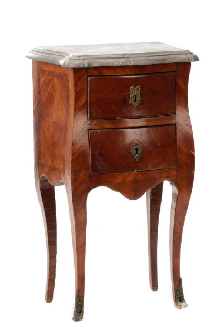 Louis XV Marble & Rosewood Night Stand, 18/19 C.