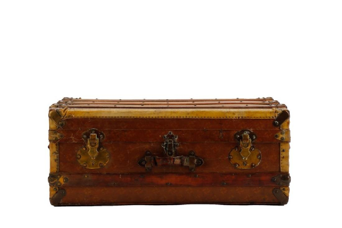 French Traveling Trunk in Monogrammed Canvas