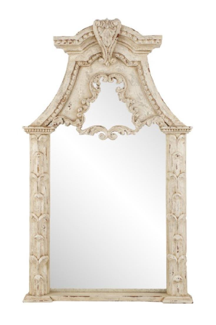French Provincial Style Distressed Wall Mirror