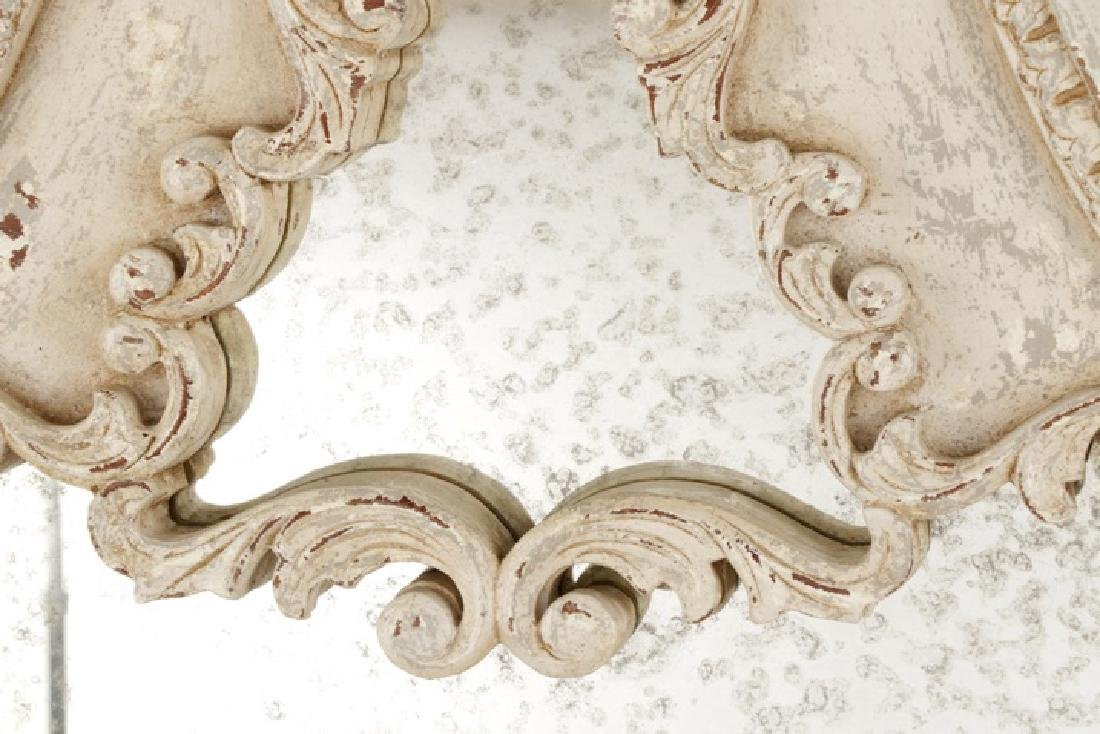 French Provincial Style Distressed Wall Mirror - 5