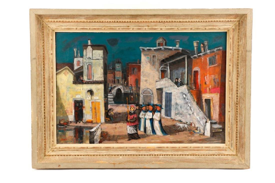 "Louis Bosa, ""Courtyard in Venice"", Signed O/C"