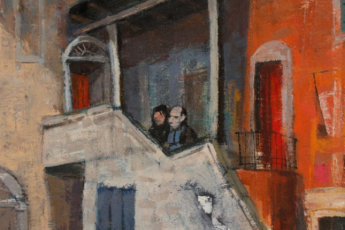 "Louis Bosa, ""Courtyard in Venice"", Signed O/C - 3"