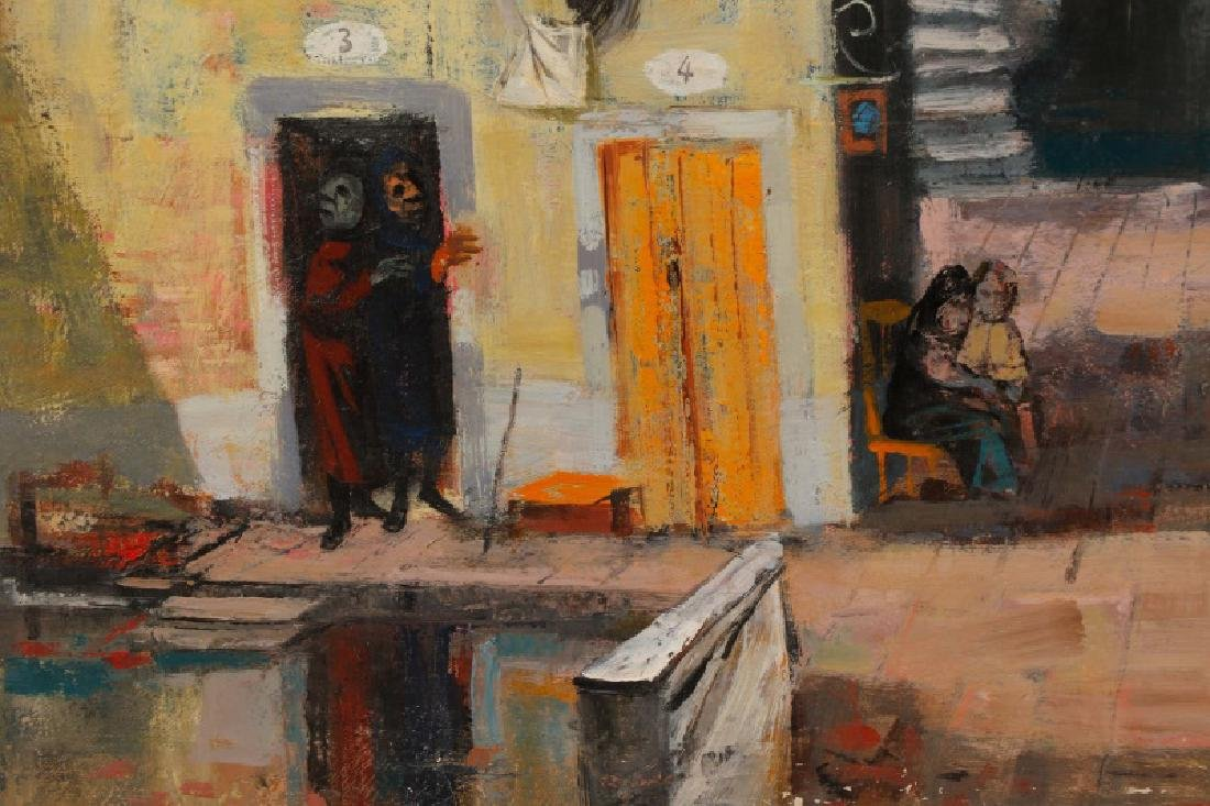 "Louis Bosa, ""Courtyard in Venice"", Signed O/C - 4"