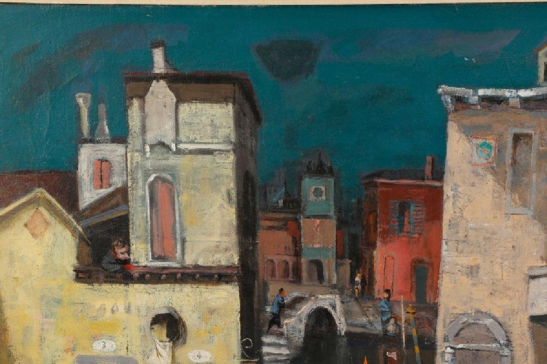 "Louis Bosa, ""Courtyard in Venice"", Signed O/C - 6"