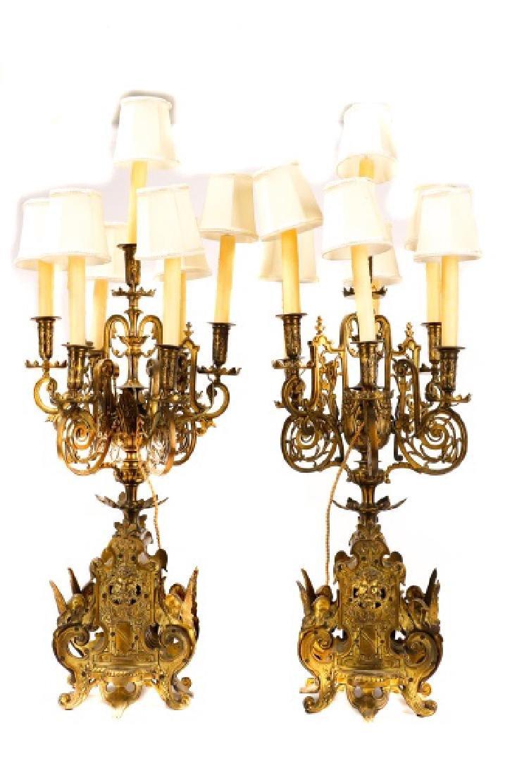 Pair, Renaissance Revival Style Candelabras - 4