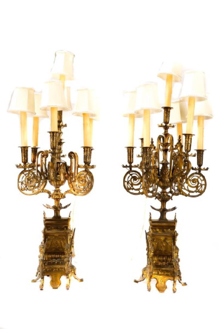 Pair, Renaissance Revival Style Candelabras - 9