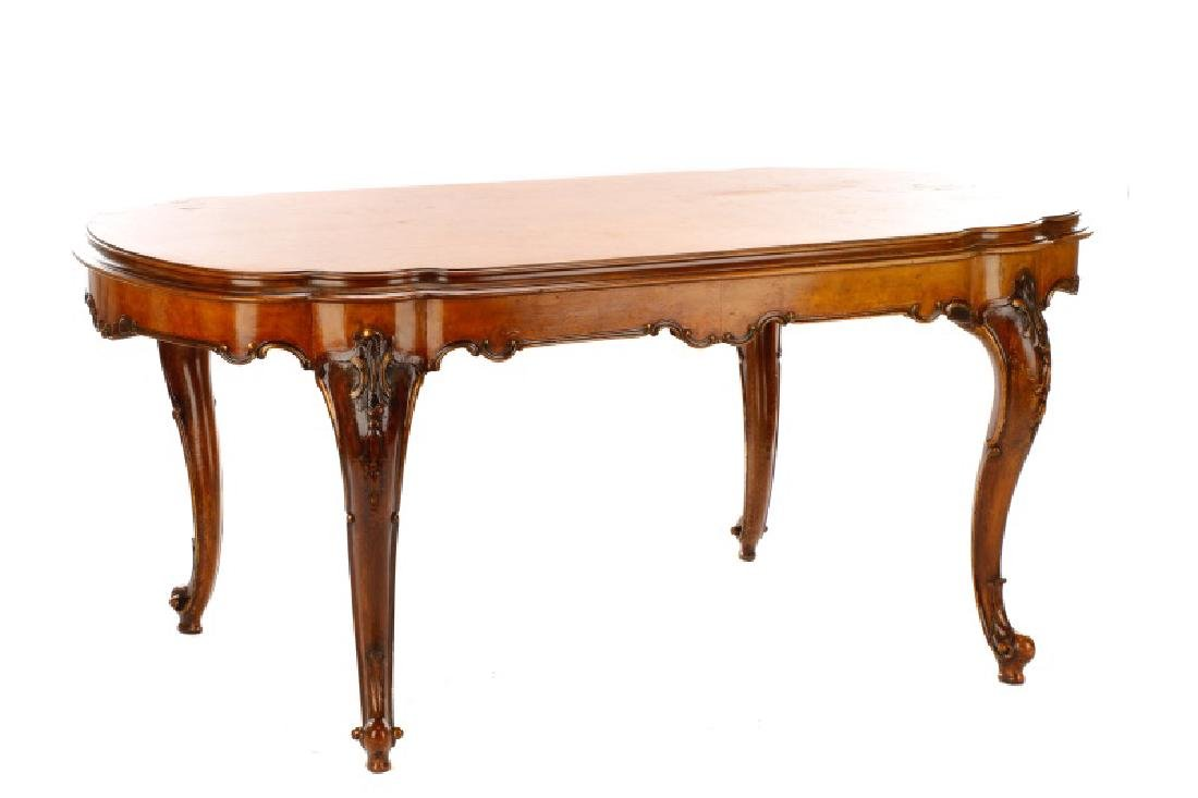 Italian Rococo Burlwood & Walnut Dining Table