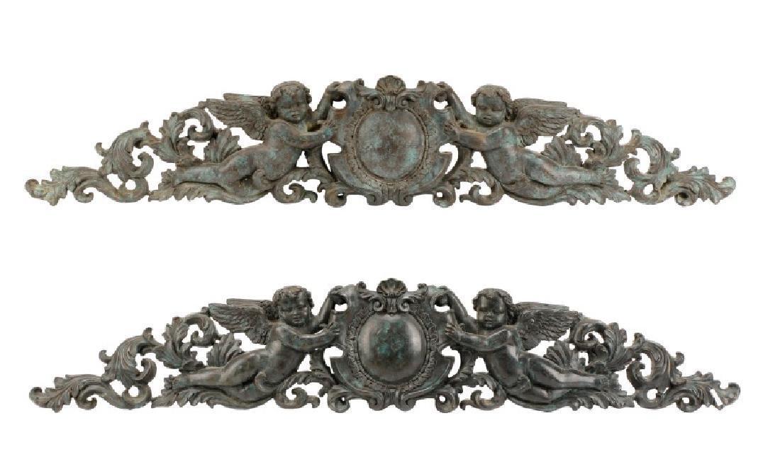 Pair, Patinated Bronze Baroque Style Overdoors