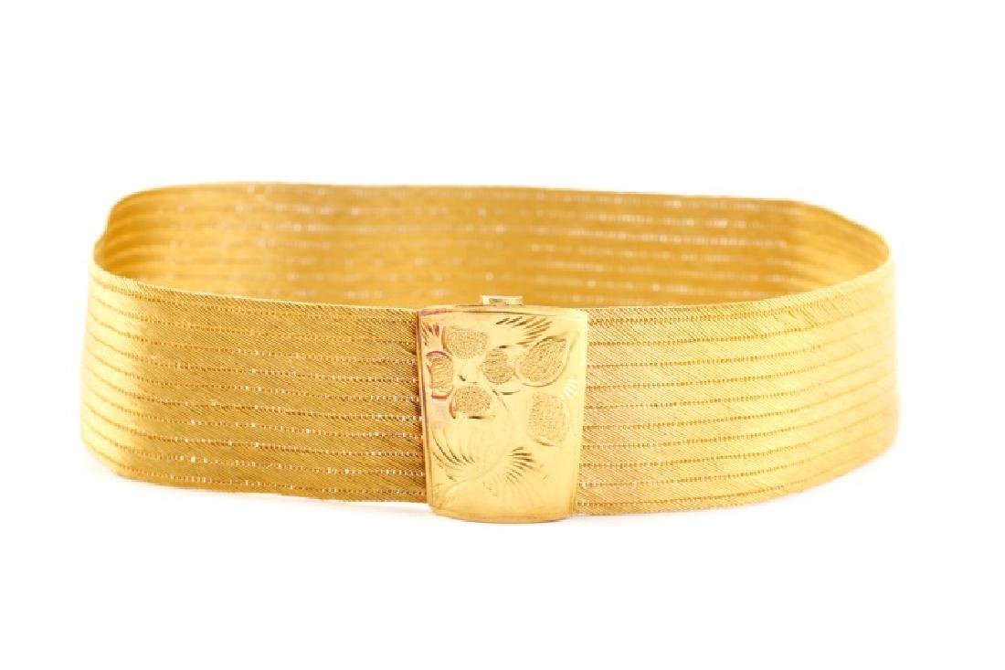 Woven 22k Yellow Choker w/ Engraved Floral Clasp