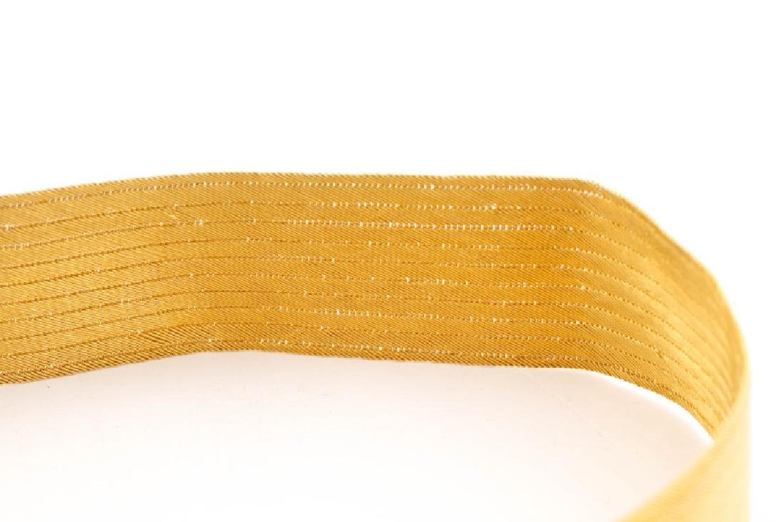 Woven 22k Yellow Choker w/ Engraved Floral Clasp - 3
