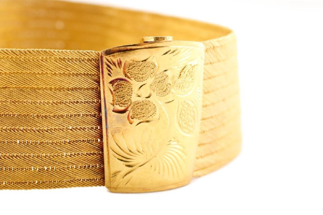 Woven 22k Yellow Choker w/ Engraved Floral Clasp - 6