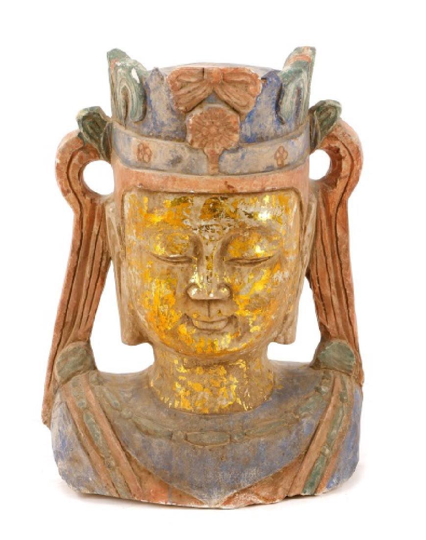 Carved & Polychromed Quartz Buddha Head