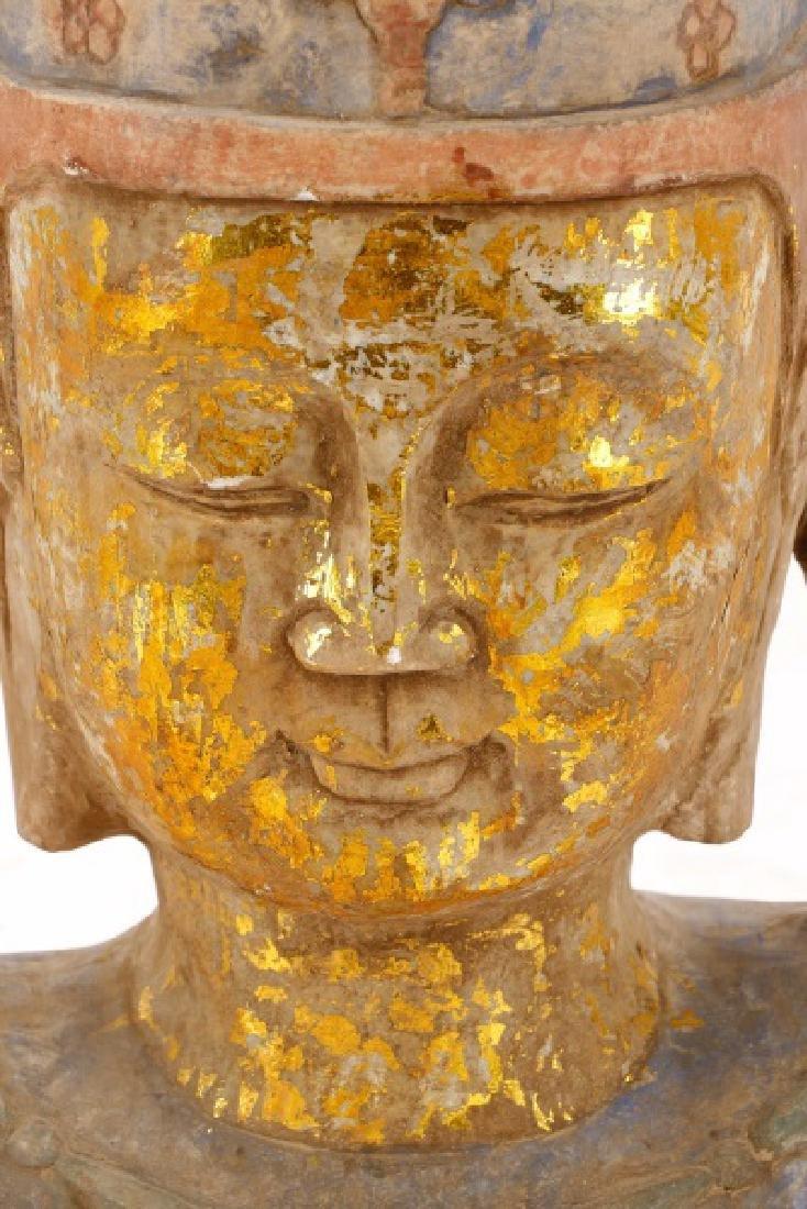 Carved & Polychromed Quartz Buddha Head - 3