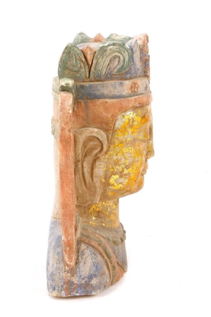 Carved & Polychromed Quartz Buddha Head - 7