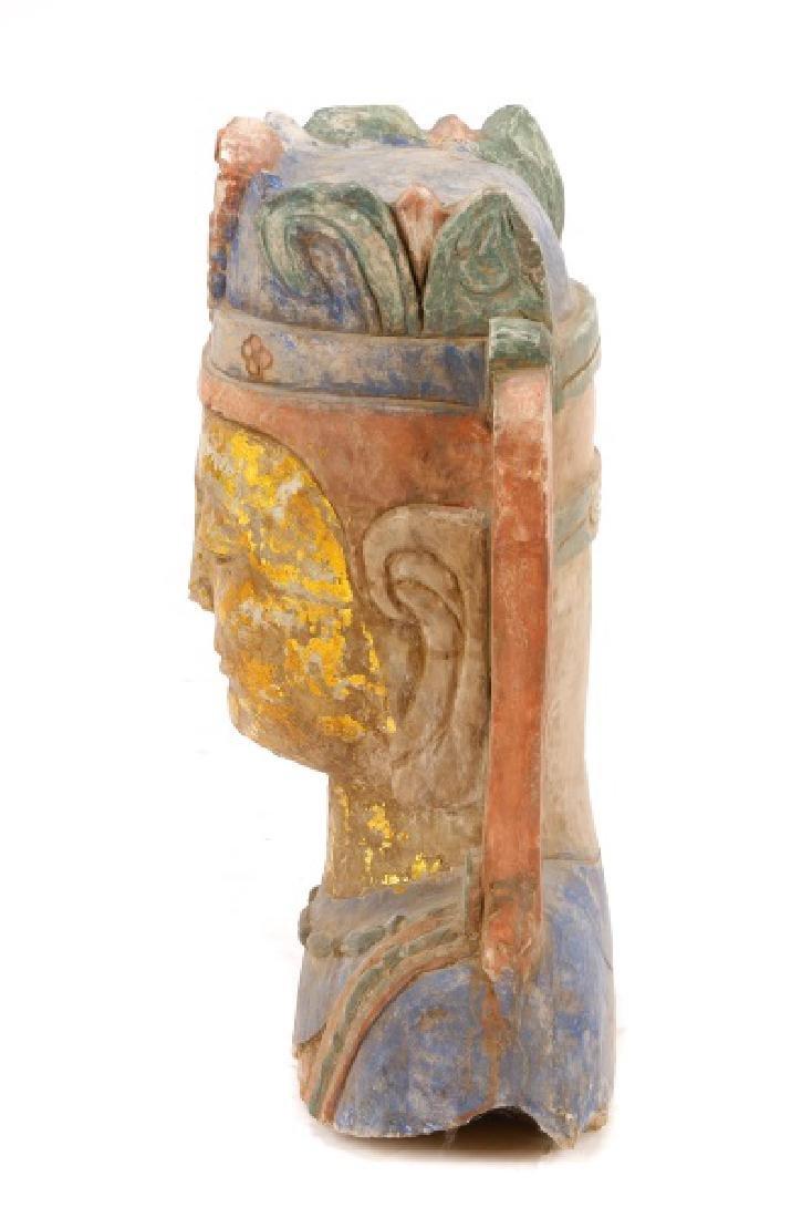 Carved & Polychromed Quartz Buddha Head - 8