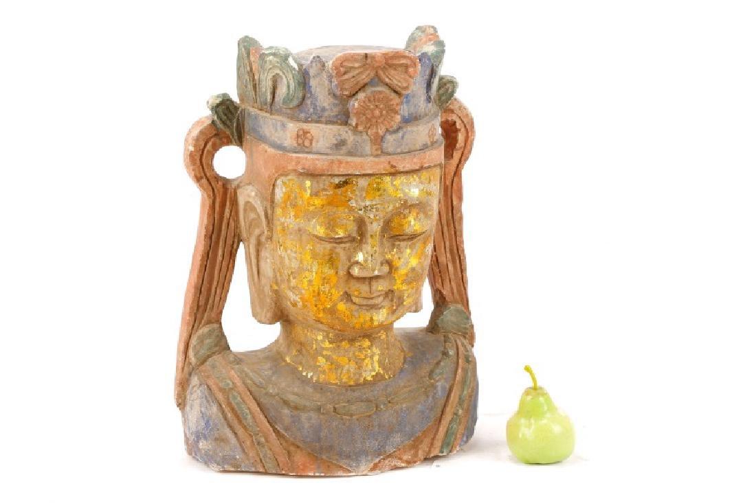 Carved & Polychromed Quartz Buddha Head - 9