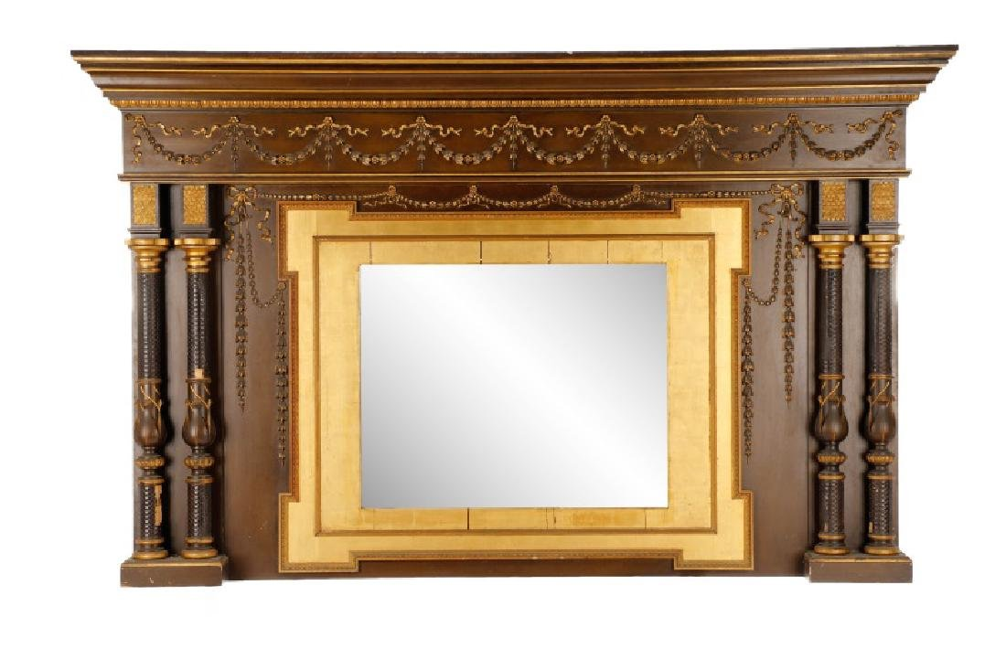 Monumental Gilded Age Style Tulip Motif Overmantle
