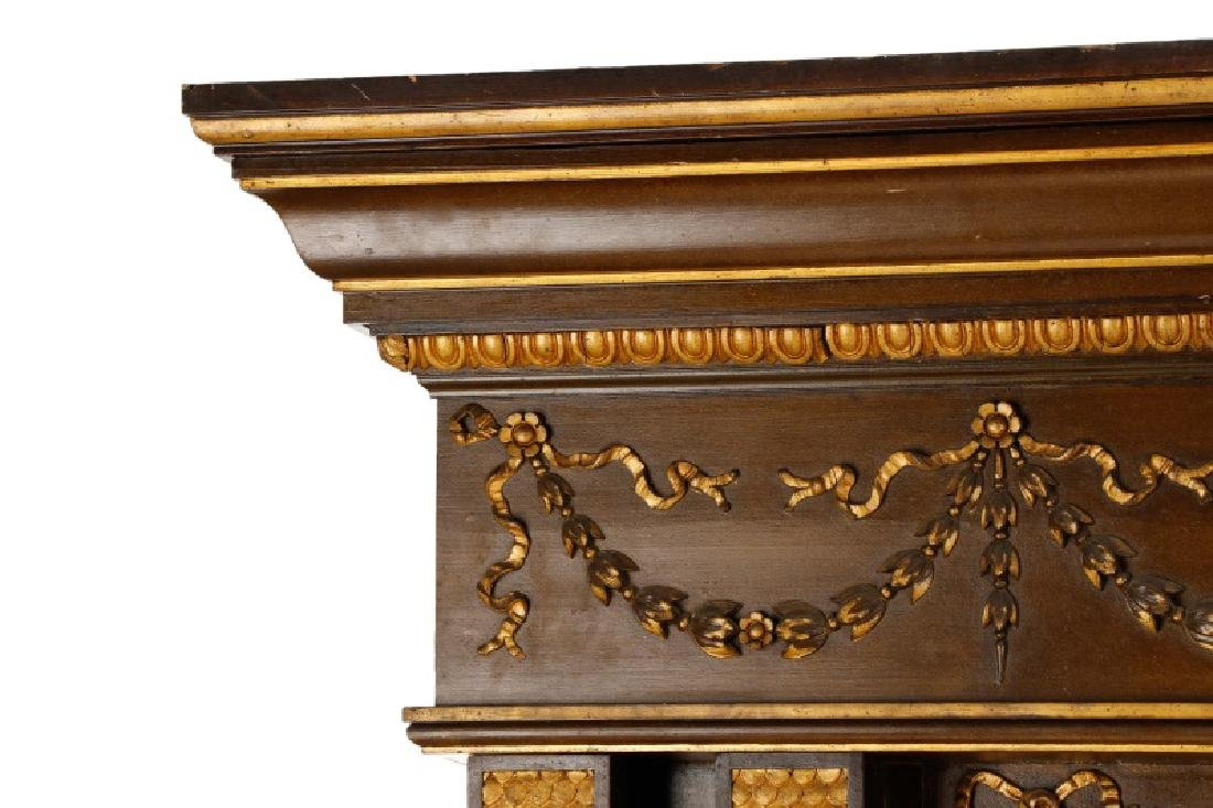 Monumental Gilded Age Style Tulip Motif Overmantle - 3