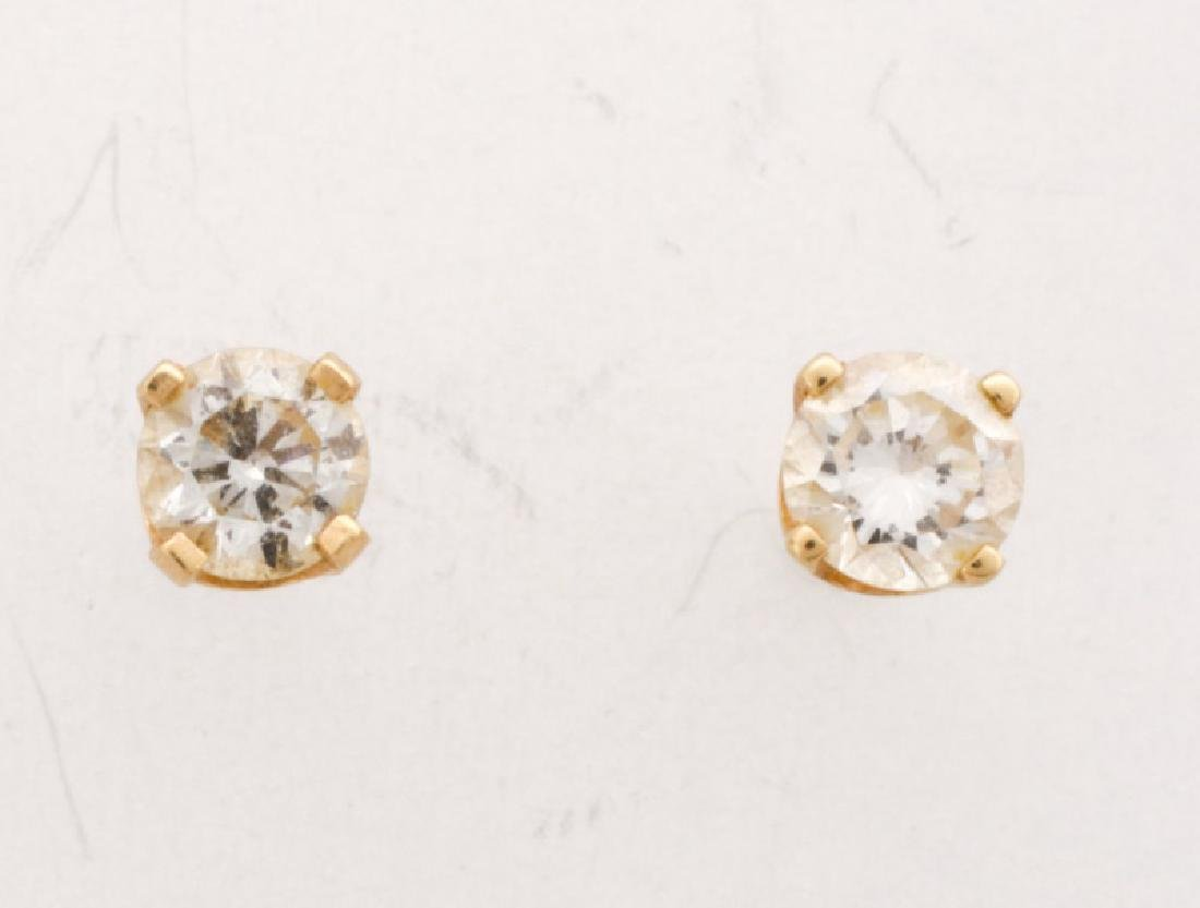 Pair, 14k Yellow Gold & Diamond Stud Earrings