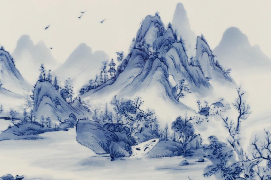 Large Chinese Porcelain Plaque, Landscape Scene - 4