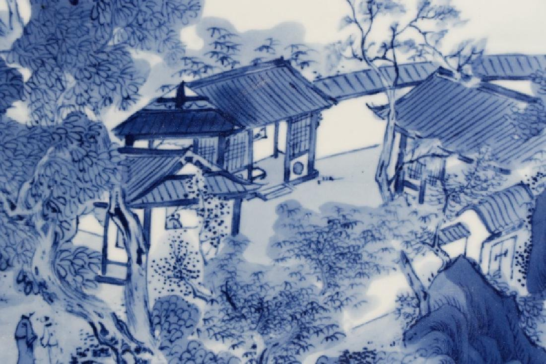 Large Chinese Porcelain Plaque, Landscape Scene - 5