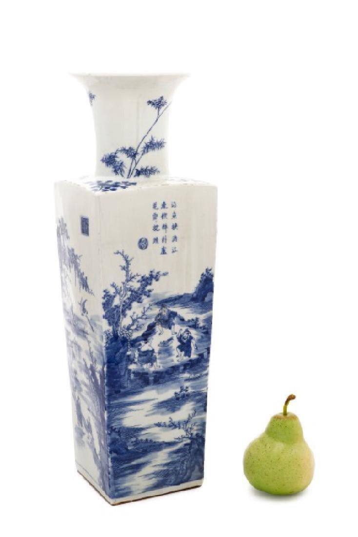 Chinese Squared Porcelain Sleeve Vase, Kangxi Mark - 10
