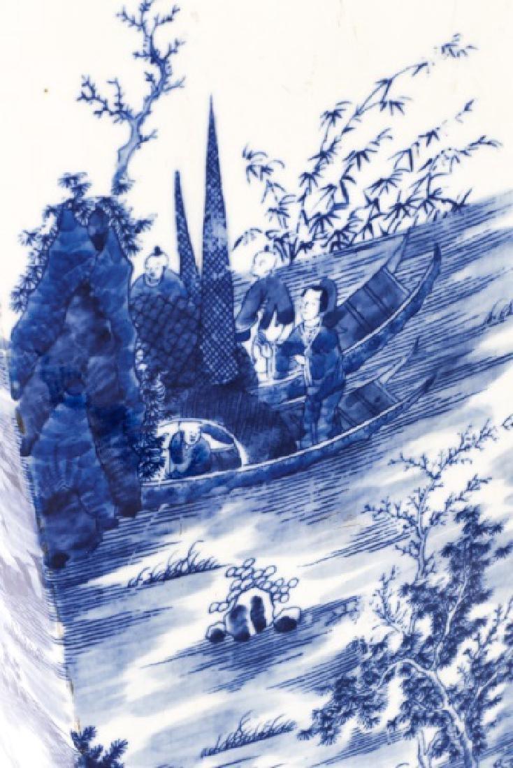 Chinese Squared Porcelain Sleeve Vase, Kangxi Mark - 5