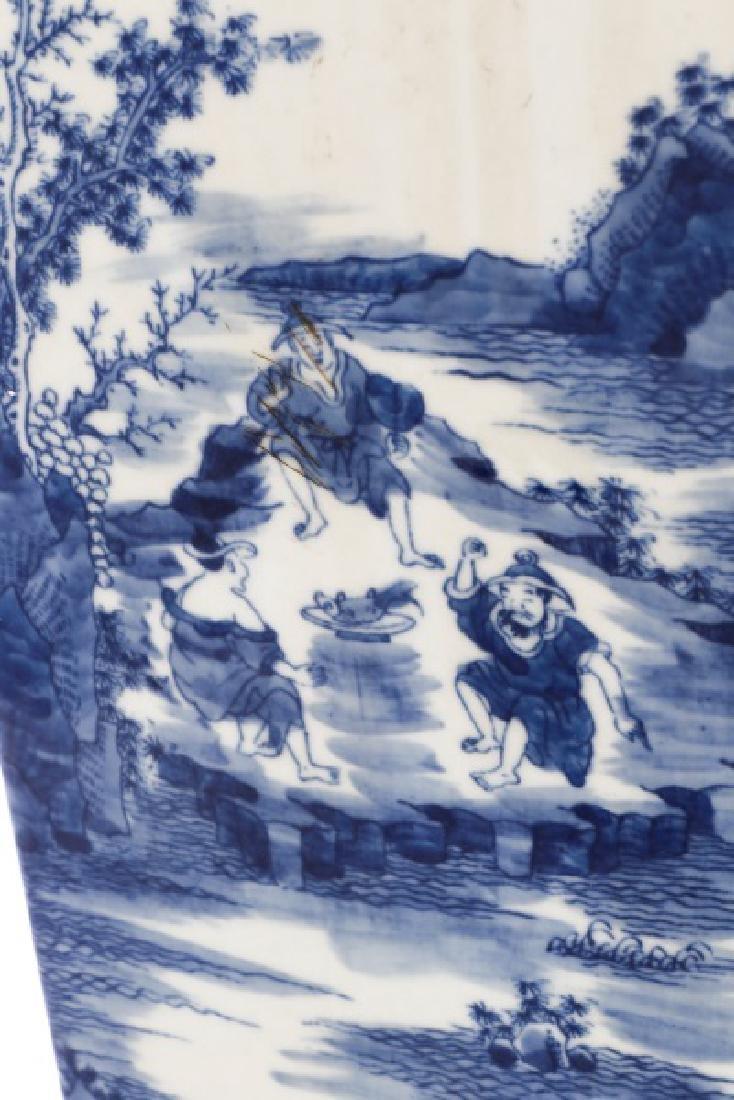 Chinese Squared Porcelain Sleeve Vase, Kangxi Mark - 7