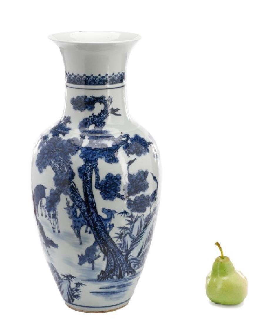 Chinese Baluster Porcelain Vase with Deer Motif - 10