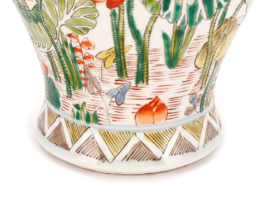 Chinese Famille Verte Fengweizun Porcelain Vase - 3