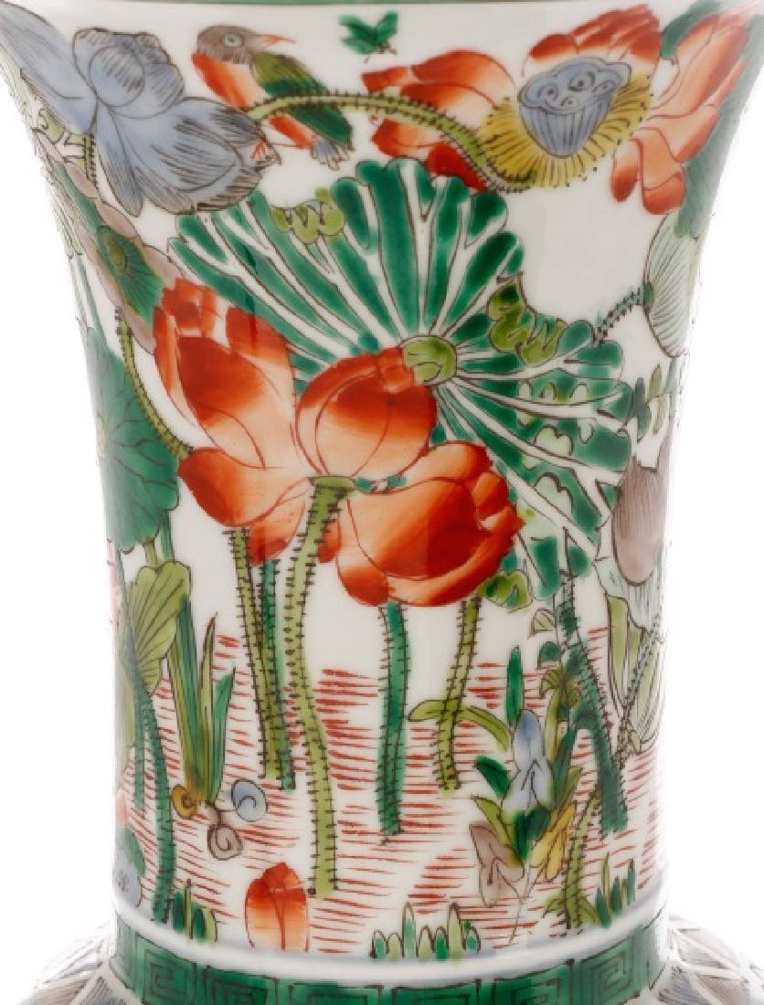Chinese Famille Verte Fengweizun Porcelain Vase - 4