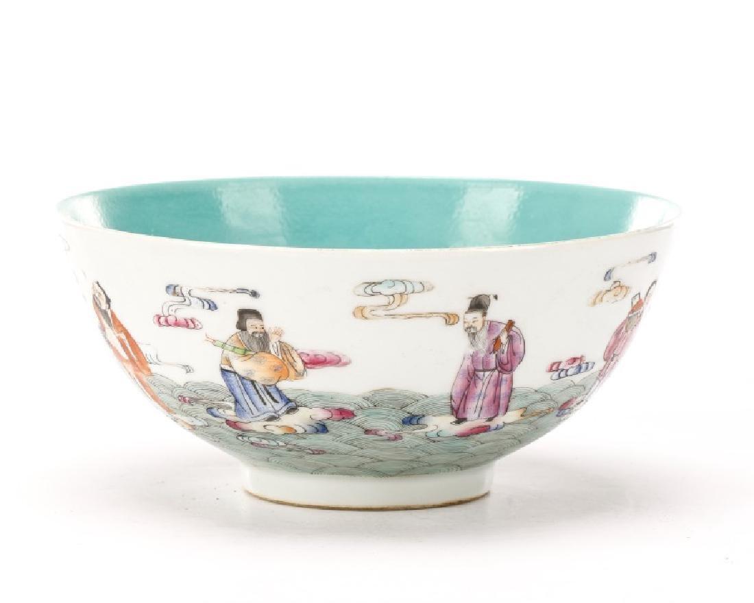 8 Buddhist Immortals Chinese Bowl, Guangxu Mark
