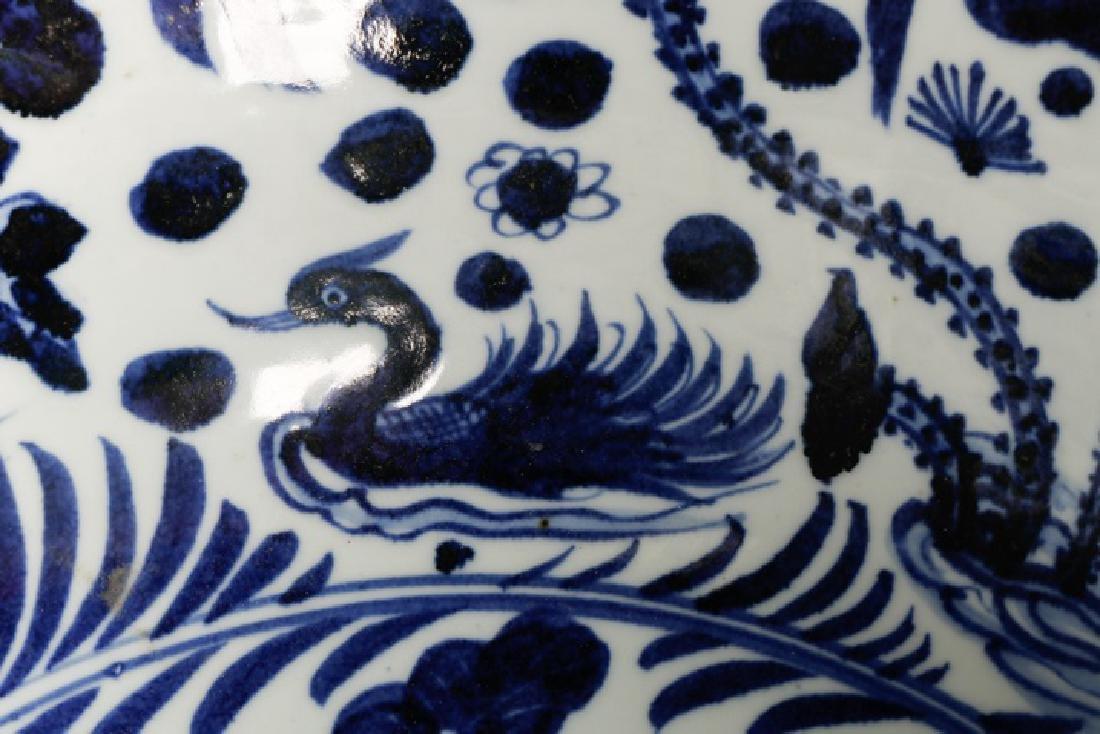 Chinese Blue & White Punch Bowl, Ducks & Lotus - 4