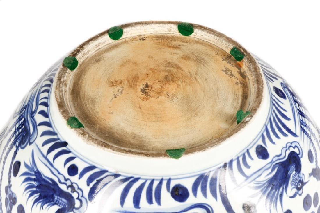 Chinese Blue & White Punch Bowl, Ducks & Lotus - 6