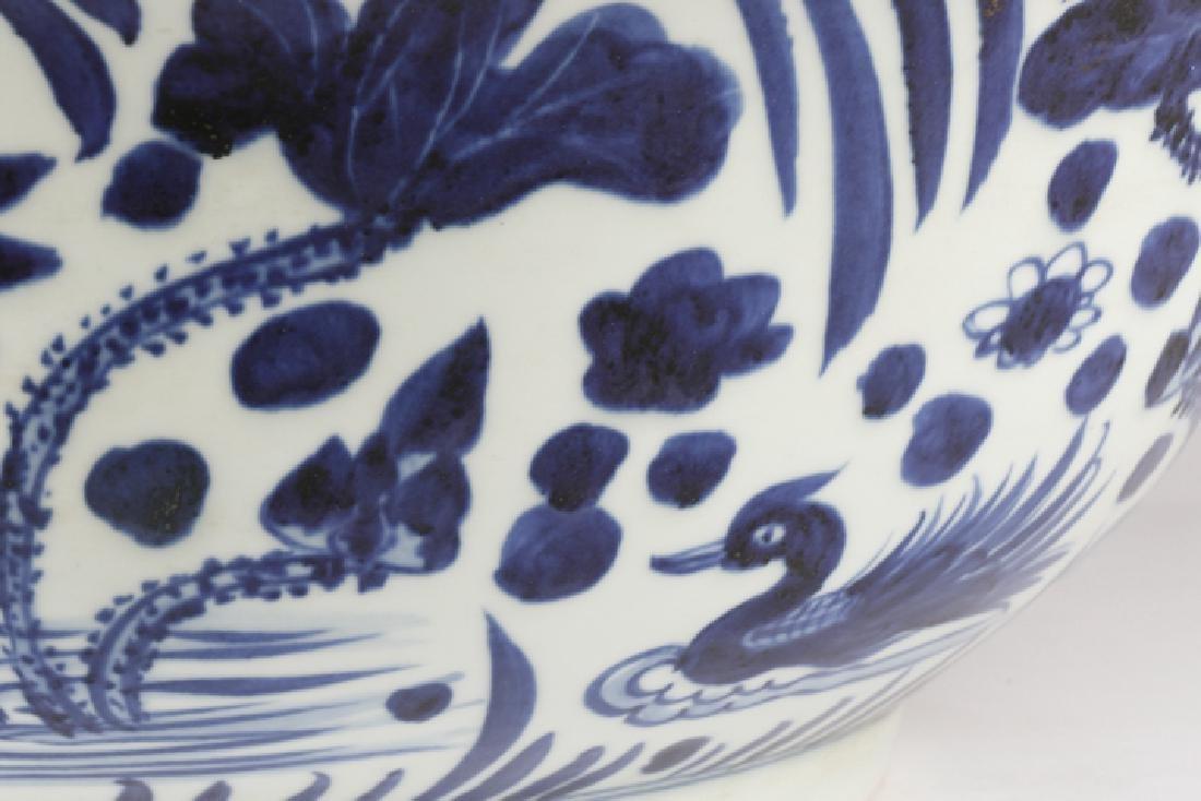 Chinese Blue & White Punch Bowl, Ducks & Lotus - 8