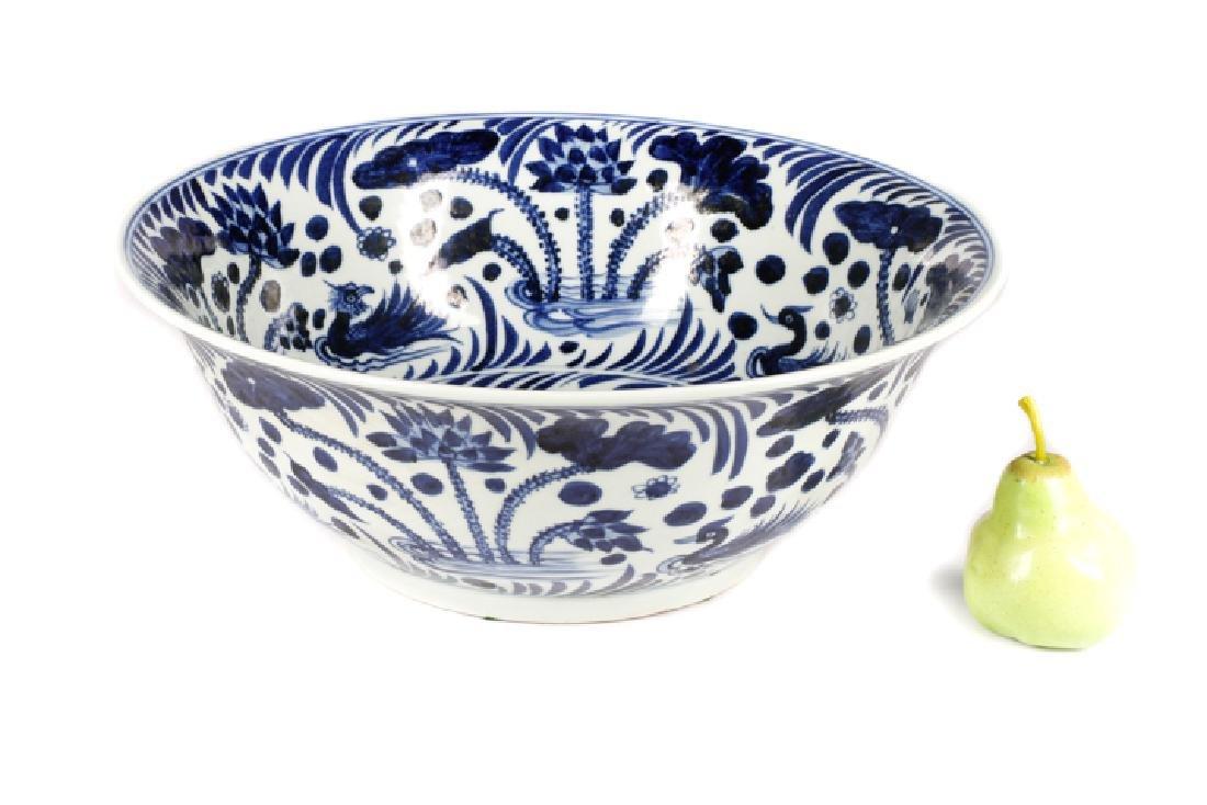 Chinese Blue & White Punch Bowl, Ducks & Lotus - 9