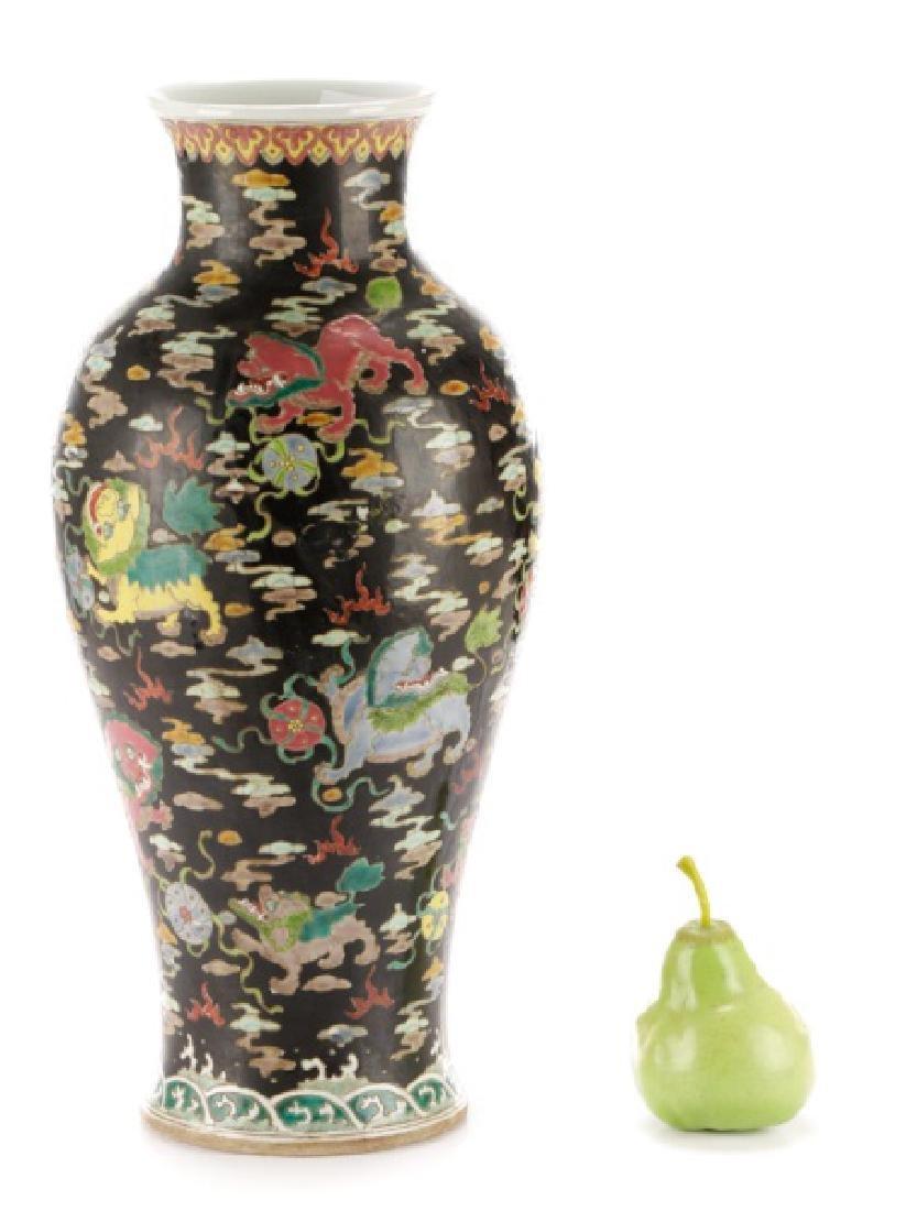 Chinese Famille Noir Porcelain Fu Dog Motif Vase - 10
