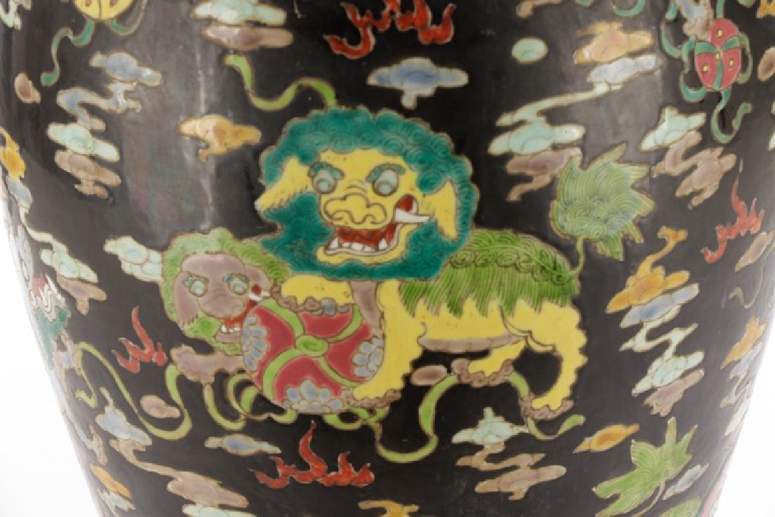 Chinese Famille Noir Porcelain Fu Dog Motif Vase - 2