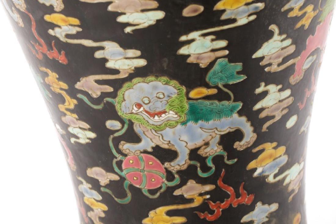 Chinese Famille Noir Porcelain Fu Dog Motif Vase - 3
