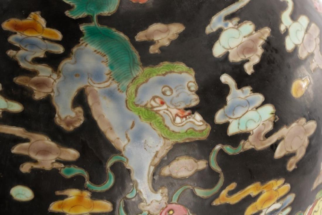 Chinese Famille Noir Porcelain Fu Dog Motif Vase - 4