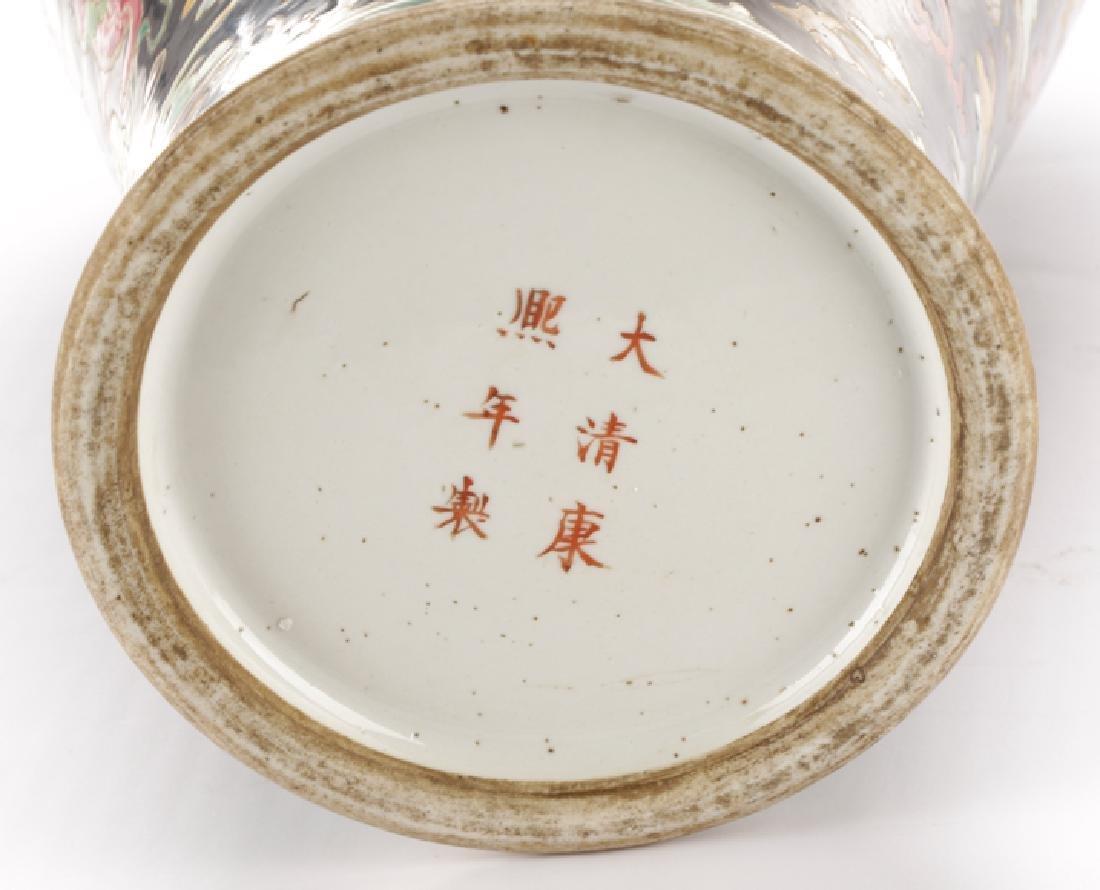 Chinese Famille Noir Porcelain Fu Dog Motif Vase - 8