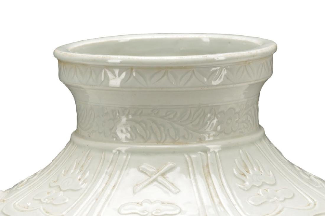 Dehua Porcelain Pot w/ Calligraphy & Tiger Handles - 2