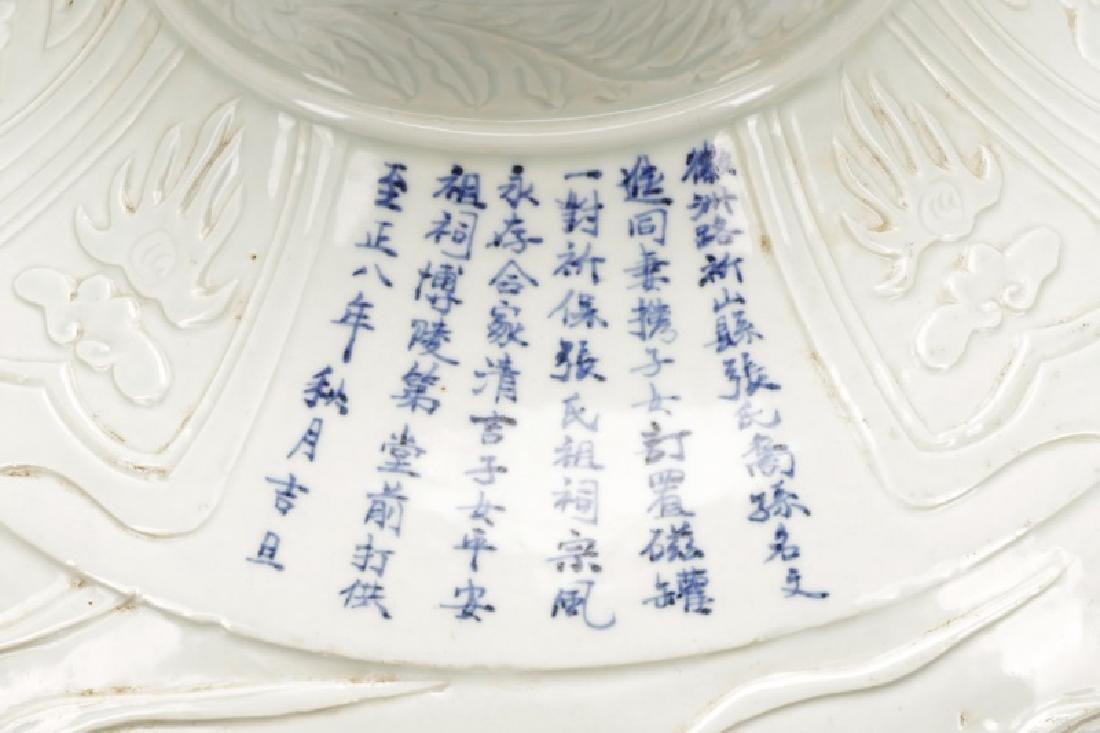 Dehua Porcelain Pot w/ Calligraphy & Tiger Handles - 3