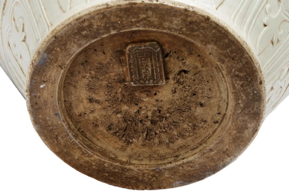 Dehua Porcelain Pot w/ Calligraphy & Tiger Handles - 5