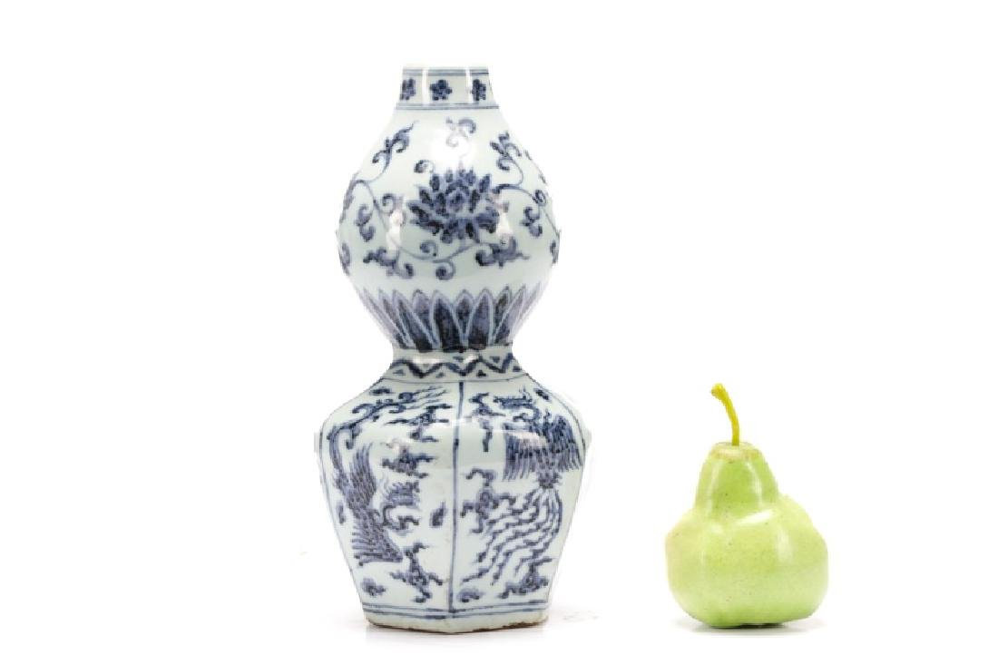 Chinese Blue & White Double Gourd Porcelain Vase - 8