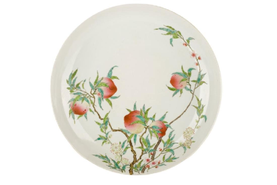 Chinese Yellow Glazed Prunus Fruit Charger