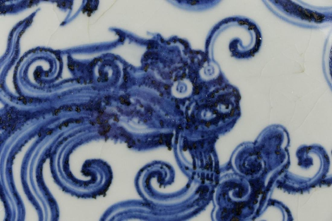 Large Chinese Porcelain Moon Flask with Dragons - 6