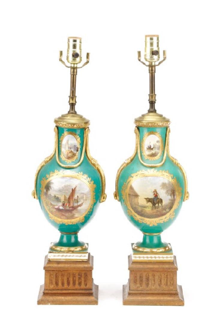 Pair, Old Paris Porcelain Landscape Urn Lamps