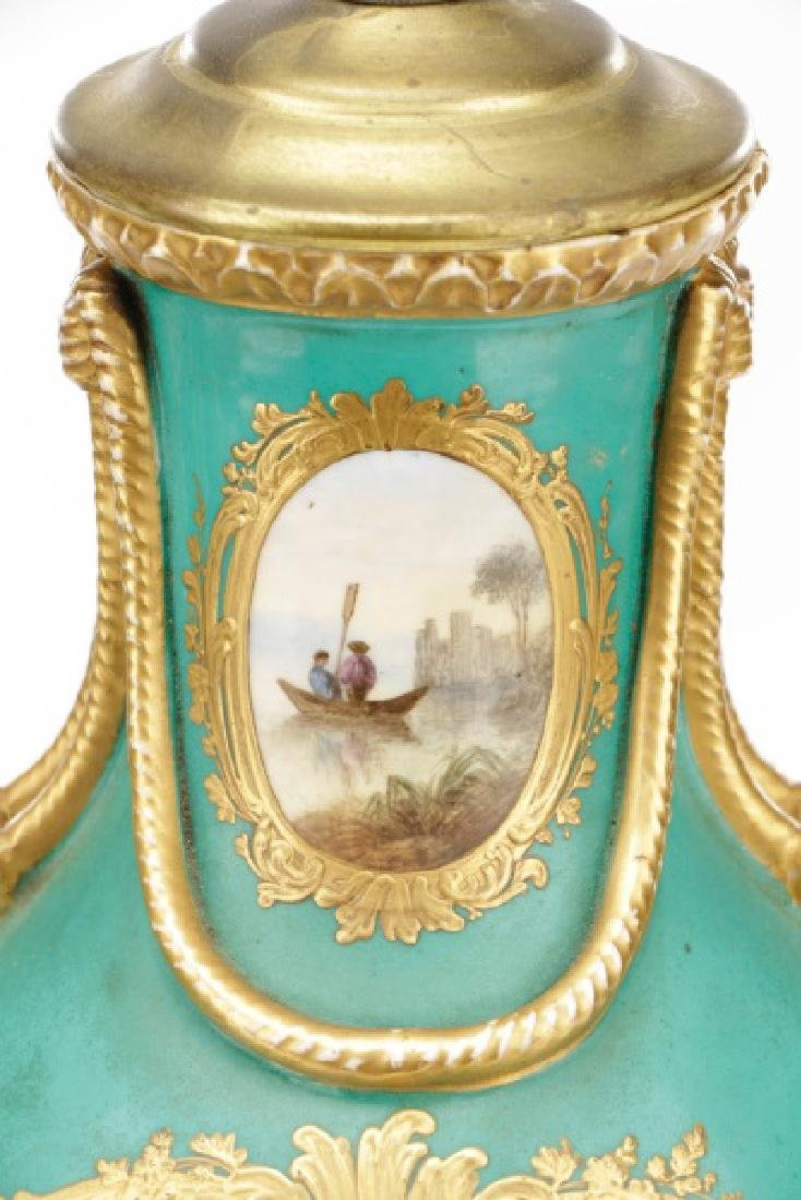 Pair, Old Paris Porcelain Landscape Urn Lamps - 5