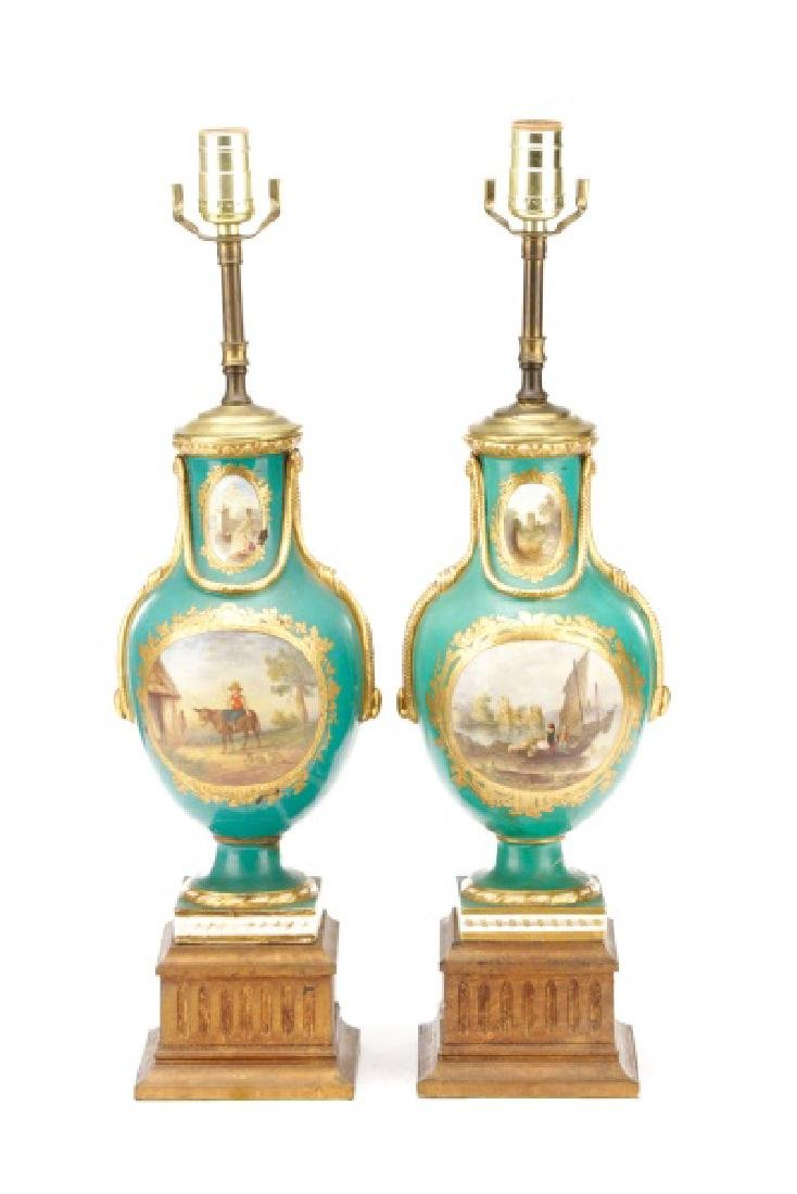 Pair, Old Paris Porcelain Landscape Urn Lamps - 7